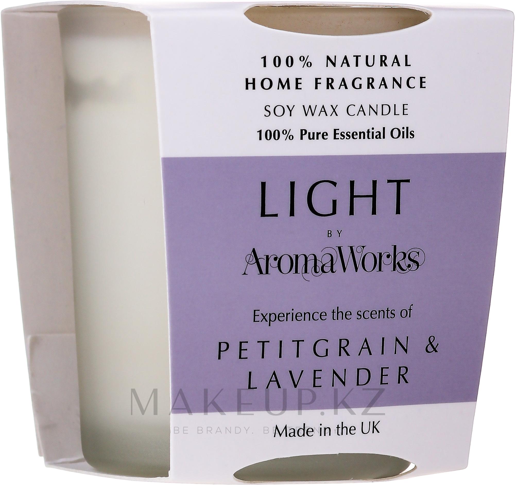 "Ароматическая свеча ""Петитгрейн и лаванда"" - AromaWorks Light Range Petitgrain & Lavender Candle — фото 75 g"
