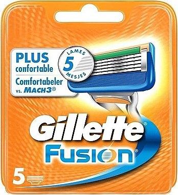 Сменные кассеты для бритья, 5 шт. - Gillette Fusion — фото N1