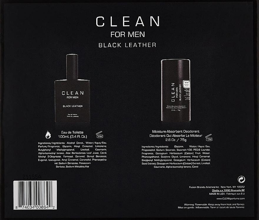 Набор - Clean Black Leather Men (edt/100ml + deo/75ml) — фото N3