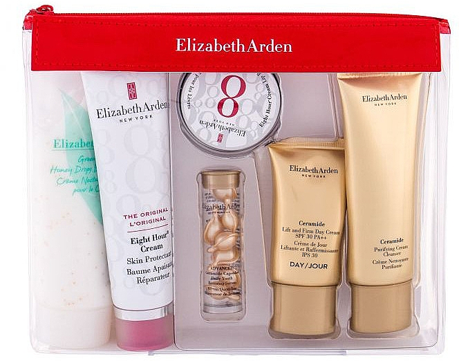 Набор - Elizabeth Arden Eight Hour Cream Skin Protectant Travel Essentials Kit (b/balm/50ml+ser/3.2ml+lip/balm/13ml+face/cr/15ml+cr/50ml+b/cr/100ml) — фото N1