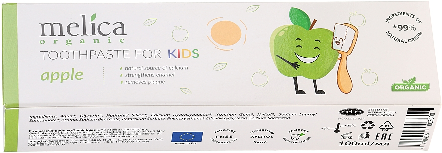 "Детская зубная паста ""Яблоко"" - Melica Organic Toothpaste For Kids Apple — фото N2"