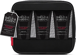 Духи, Парфюмерия, косметика Набор - Baylis & Harding Signature Men's Black Pepper & Ginseng Toiletry Bag (hair/body/wash/100ml+a/sh/balm/100ml+face/wash/100ml+acc)