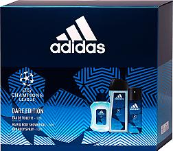Духи, Парфюмерия, косметика Adidas UEFA Dare Edition - Набор (sh/gel/250ml + deo/spray/150ml + edt/100ml)