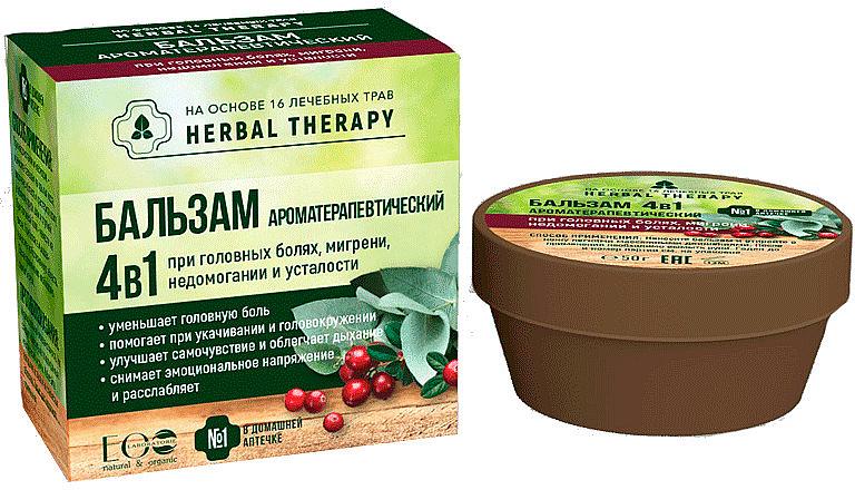 "Бальзам ""Ароматерапевтический"" 4 в 1 на основе 16 лечебных трав - ECO Laboratorie Herbal Therapy — фото N1"