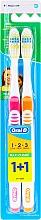 Духи, Парфюмерия, косметика Набор зубных щеток (средняя, оранжевая+розовая) - Oral-B 1 2 3 Maxi Clean 40 Medium 1+1