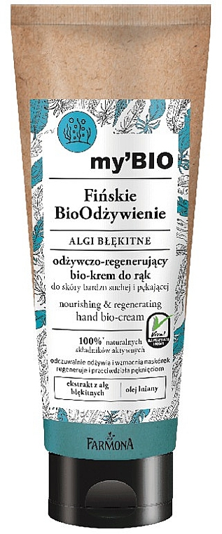 "Био-крем для рук ""Арктические водоросли"" - Farmona My'Bio Finnish Nourish Hand Bio-Cream Blue Algae — фото N1"