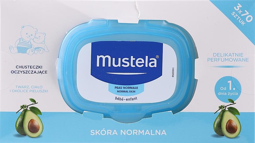 Набор - Mustela Bebe Cleansing Wipes Normal Skin (3x70) — фото N1