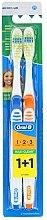 Духи, Парфюмерия, косметика Набор зубных щеток (средняя, синяя+оранжевая) - Oral-B 1 2 3 Maxi Clean 40 Medium 1+1