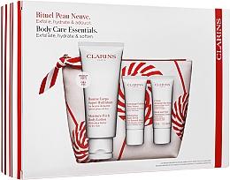 Набор - Clarins Moisture Rich Body Lotion Christmas Set (b/balm/200ml + b/scr/30ml + h/cr/30ml + bag) — фото N1