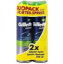 Духи, Парфюмерия, косметика Набор - Gillette Series Sensitive Shaving Gel Dou Pack (shave/gel/2х200ml)