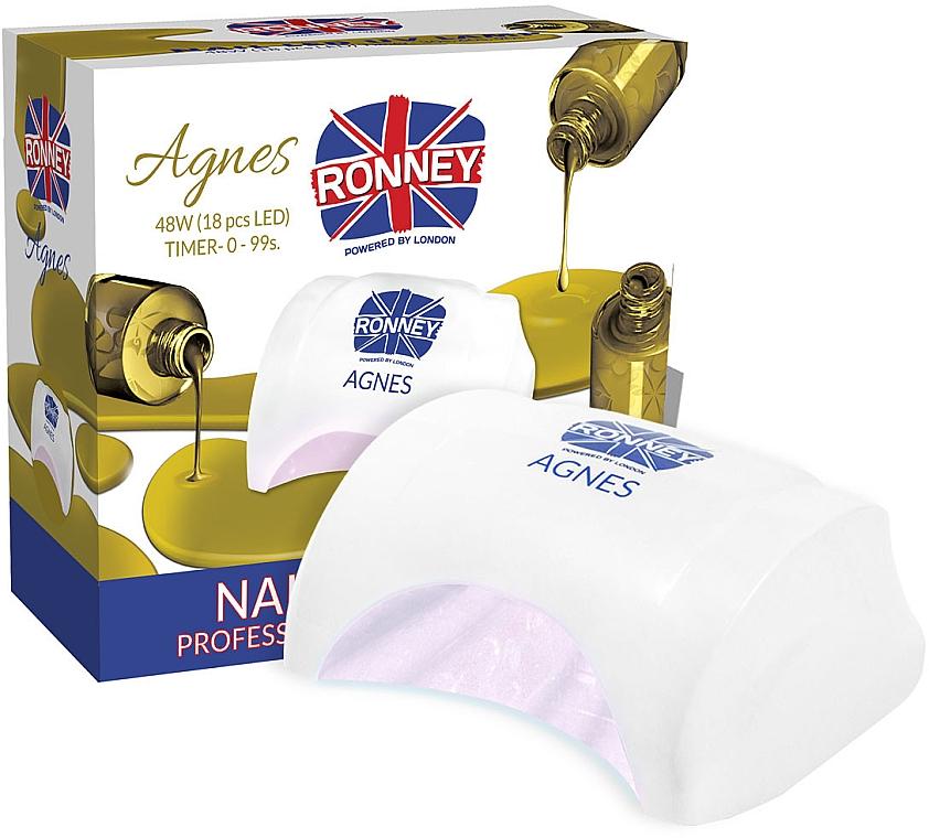 Лампа для ногтей LED, белая - Ronney Profesional Agnes LED 48W (GY-LED-032) — фото N1