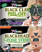 Духи, Парфюмерия, косметика Маска для лица с черной глиной, полоски для носа, подбородка и лба - 7th Heaven Charcoal Duo Black Clay Peel Off