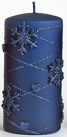 Декоративная свеча, синяя, 7х14см - Artman Snowflake Application — фото N1