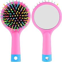Духи, Парфюмерия, косметика Щетка для волос с зеркальцем, розовая - Twish Handy Hair Brush with Mirror Rose Pink