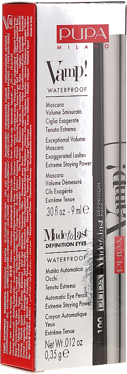 Набор - Pupa Vamp! Mascara Waterproof & Made To Last Definition Eyes (mascara/9ml + pensil/0.35g) — фото N1