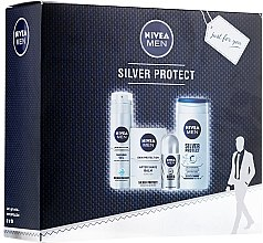 Духи, Парфюмерия, косметика Набор - Nivea Men Silver Protect (ash/gel/100ml + deo/50ml + gel/200ml + sh/gel/250ml)