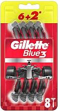 Духи, Парфюмерия, косметика Набор одноразовых станков для бритья, 6+2шт - Gillette Blue3 Nitro