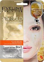 Духи, Парфюмерия, косметика Восстанавливающая тканевая маска с 24-каратным золотом 8в1 - Eveline Cosmetics 24k Gold Nourishing Elixir Mask