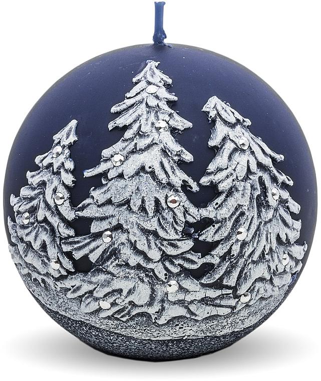 "Декоративная свеча ""Шар. Рождественские ёлочки"", синяя 8 см - Artman Christmas Tree Candle Ball — фото N1"