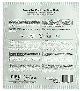 Набор - Pibu Beauty Green Tea Purifying Clay Mask Set (f/mask/5x18g) — фото N3