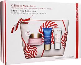 Духи, Парфюмерия, косметика Набор - Clarins Multi-Active Christmas Set (day/cream/50ml + night/cream/15ml+balm/15ml+bag)