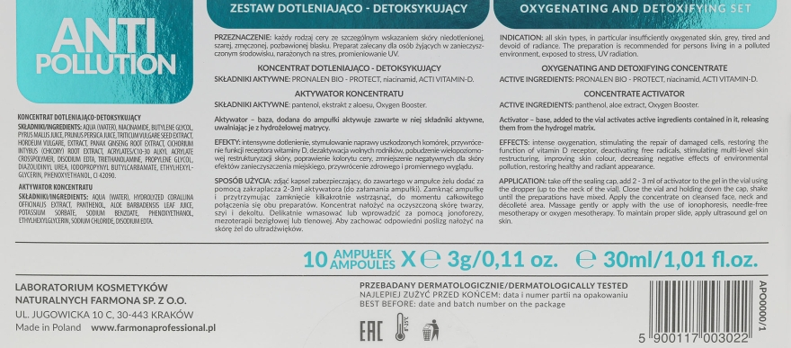 Набор - Farmona Anti-Pollution Oxygenating and Detoxifying Set (activator/30ml + concentrate/10x3ml) — фото N4