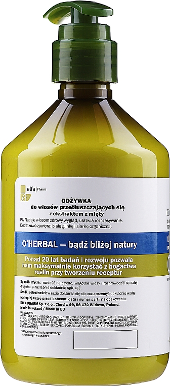 Бальзам-кондиционер для жирных волос с экстрактом мяты - O'Herbal — фото N4