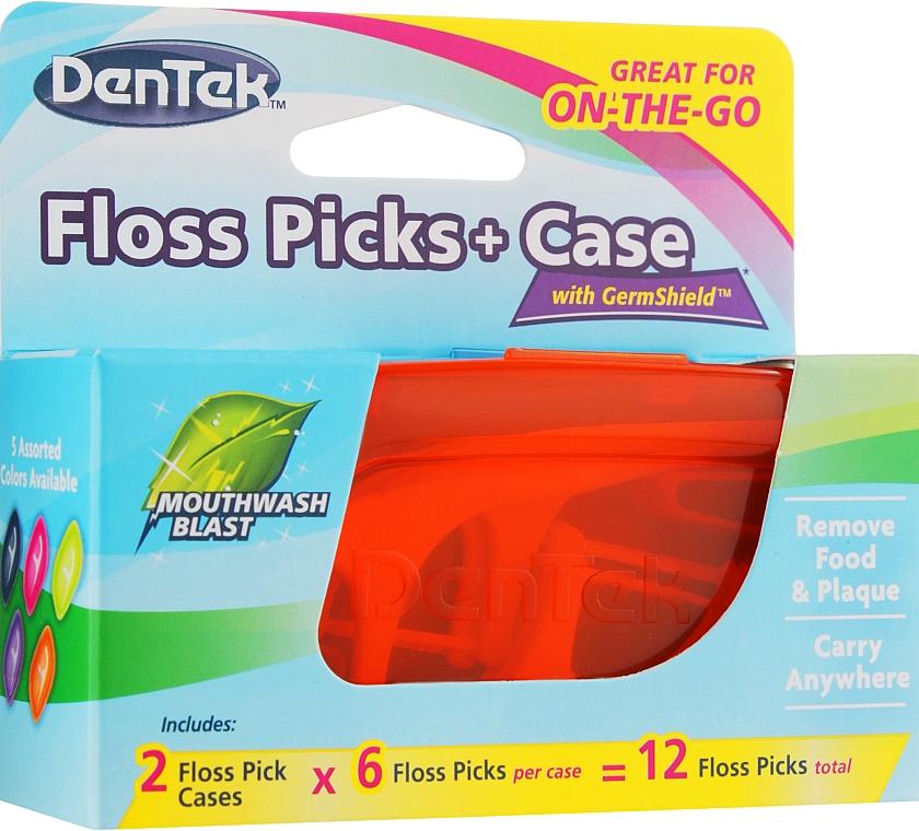 Набор Флосс-зубочистки + 2 дорожных футляра, оранжевый + голубой - Dentek Moulthwash Blast — фото N1