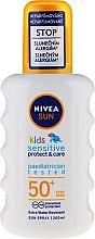 Духи, Парфюмерия, косметика Солнцезащитный спрей для тела - Nivea Sun Kids Sensitive Protect & Care Sun Spray SPF 50+