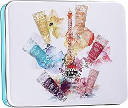 Духи, Парфюмерия, косметика Набор - Institut Karite A Day In Paris Tin Box (h/cr/30ml + soap/100g + b/oil/10ml + ash/balm/30ml + box)