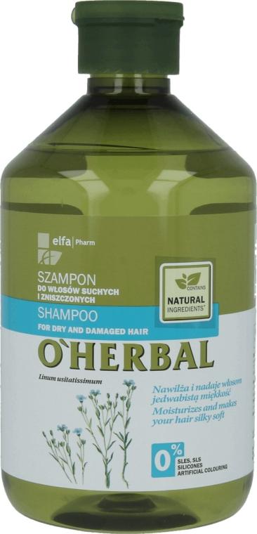 Шампунь для сухих волос с экстрактом льна - O'Herbal — фото N1