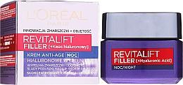 Духи, Парфюмерия, косметика Ночной антивозрастной крем-уход - L'Oreal Paris Revitalift Filler Hyaluronic Acid Night Cream