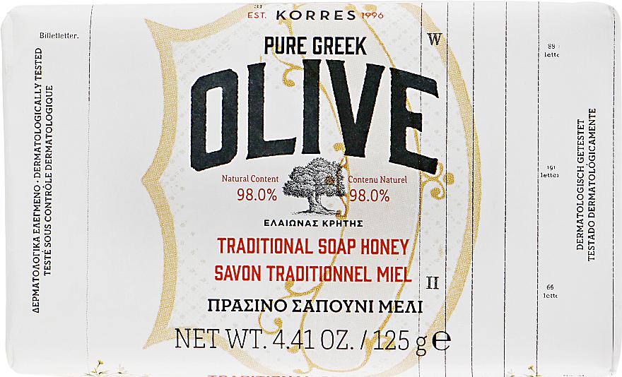 Традиционное мыло с оливой и медом - Korres Pure Greek Olive Green Soap Honey — фото N1