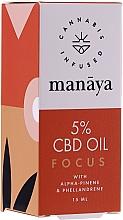 Духи, Парфюмерия, косметика Масло конопли для повышения концентрации и внимания - Manaya 5 % CBD Oil Focus
