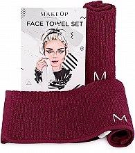 """Духи, Парфюмерия, косметика Дорожный набор полотенец для лица, бордовые """"MakeTravel"""" - Makeup Face Towel Set"""