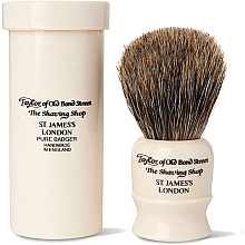 Духи, Парфюмерия, косметика Помазок для бритья, 8,5 см, с дорожным футляром - Taylor of Old Bond Street Shaving Brush Pure Badger
