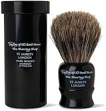 Духи, Парфюмерия, косметика Помазок для бритья, 8,25 см, с дорожным футляром, черный - Taylor of Old Bond Street Shaving Brush Pure Badger