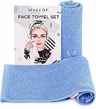 """Духи, Парфюмерия, косметика Дорожный набор полотенец для лица, голубые """"MakeTravel"""" - Makeup Face Towel Set"""