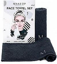 """Духи, Парфюмерия, косметика Дорожный набор полотенец для лица, черные """"MakeTravel"""" - Makeup Face Towel Set"""