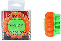 """Духи, Парфюмерия, косметика Компактная расческа для волос """"Ромашка"""", оранжевый/зеленый - Rolling Hills Brosse Demelante Flower"""