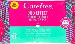 """Духи, Парфюмерия, косметика Салфетки влажные """"Алоэ"""" для интимной гигиены, 20 шт - Carefree Duo Effect"""