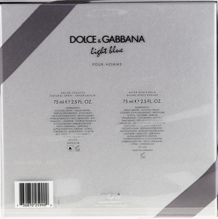 Dolce & Gabbana Light Blue Pour Homme - Набор (edt/75ml + ash/balm/75ml) — фото N3