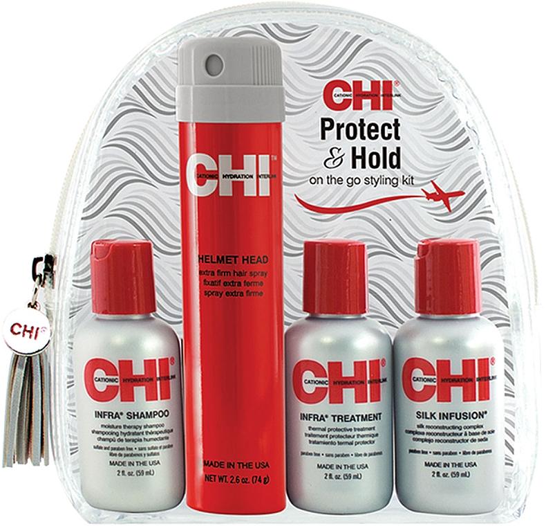 Набор - CHI Protect & Hold Travel Kit (sh/59ml+cond/59ml+h/treat/59ml+spray/74g) — фото N1