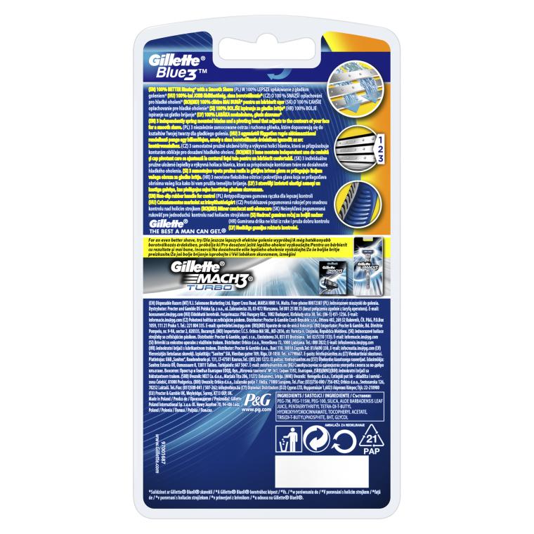 Набор одноразовых станков для бритья, 3шт - Gillette Blue 3 — фото N2