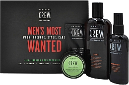 Духи, Парфюмерия, косметика Набор - American Crew Men's Most Wanted (shm/250ml + cr/50g + spray/100ml + balm/7.4ml)
