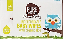 Духи, Парфюмерия, косметика Влажные салфетки с алоэ, 64 шт - Pure Beginnings Biodegradable Aloe Baby Wipes