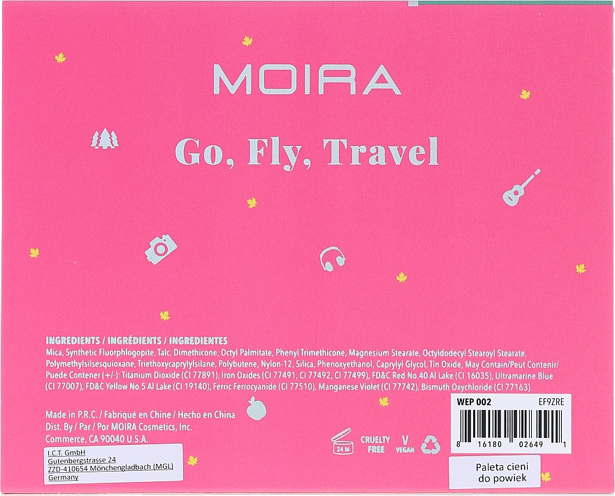 Палетка теней для век - Moira Happy Go, Fly, Travel Shadow Palette — фото N3
