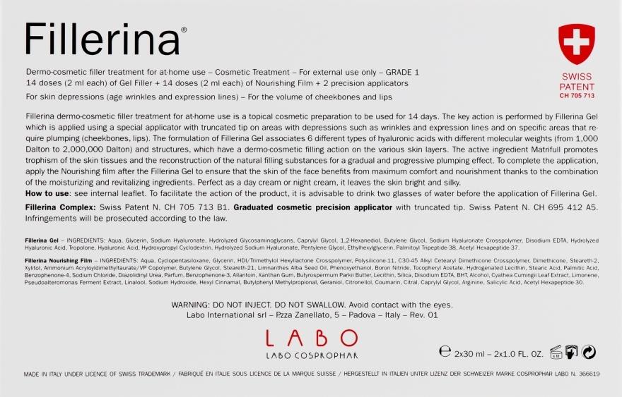 Дермато-косметическая система, уровень 1 - Fillerina Dermo-Cosmetic Filler Treatment Grade 1 (gel/30ml + cr/30ml + applicator/2szt) — фото N2