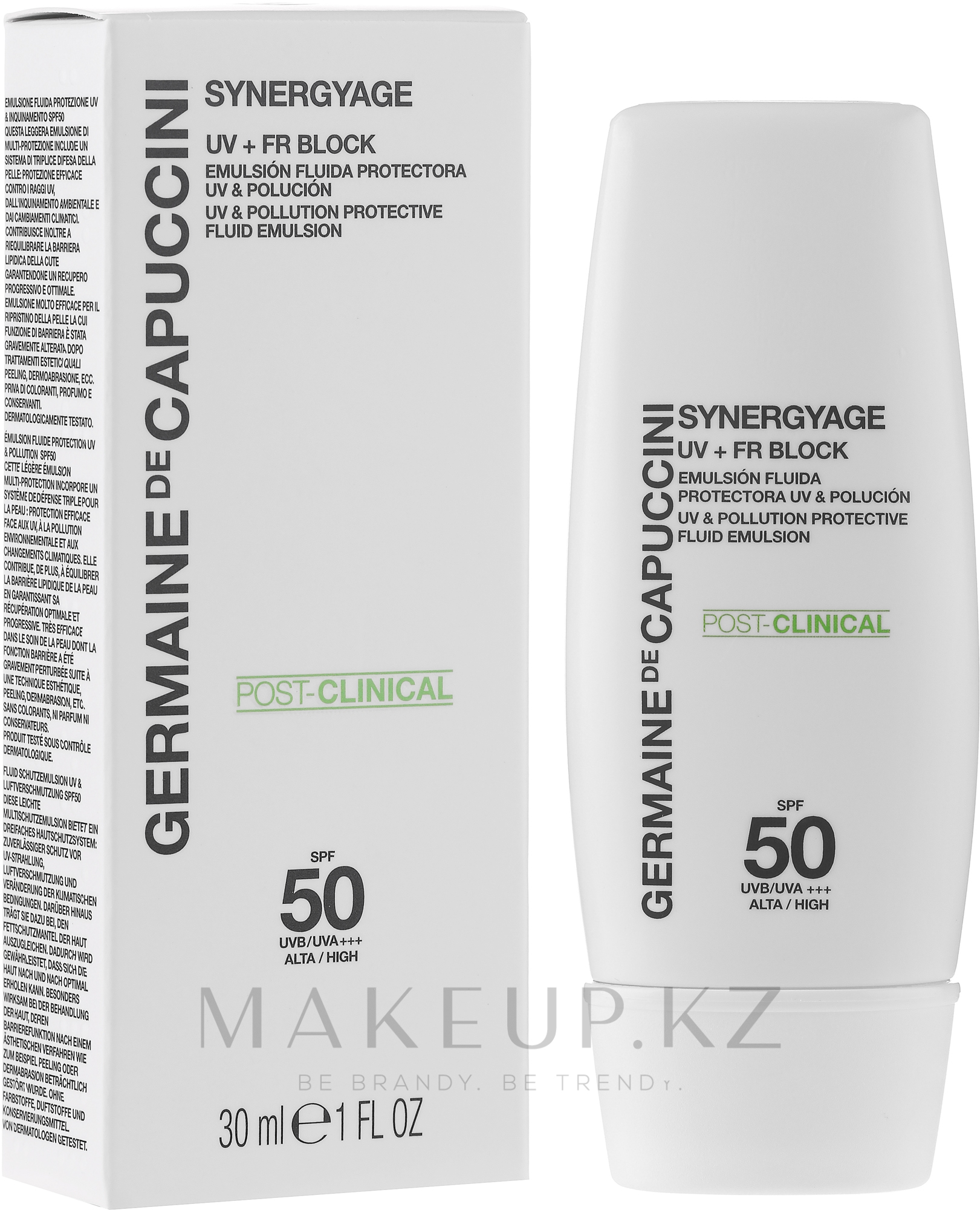 Эмульсия высокой защиты - Germaine de Capuccini Synergyage UV+FR Block Emulsion SPF50 — фото 30 ml
