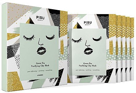 Набор - Pibu Beauty Green Tea Purifying Clay Mask Set (f/mask/5x18g) — фото N1